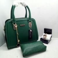 Tas wanita import CK premium set jam tangan terbaru harga grosir hijau