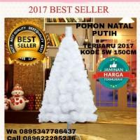 Jual pohon natal putih polos 1,5meter 5feet 5W pohon terang merry Christmas Murah