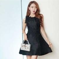 Jual Dress korea hitam katun motif timbul elegant import /black dress mini Murah