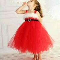 Jual gaun TUTU MERAH baju pesta anak import branded santa sale dress red Murah