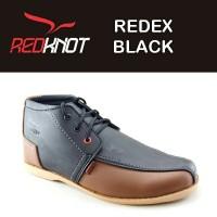 Jual JUAL sepatu pria REDKNOT REDEX BLACK SYNTETIC LEATHER Warna hitam Murah