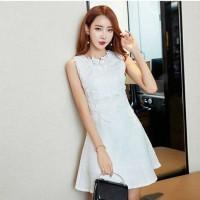 Jual Dress korea putih katun motif timbul elegant import /white dress mini Murah