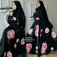 Baju Gamis SYARI SATIN MARGARETH BLACK bahan satin tebal good q
