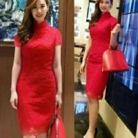 Jual Dress Midi/Mini/Gaun Brukat/Brokat/Lace Modern Shanghai Cantik Simple Murah