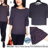 Baju Branded Murah EDC Navy Floral Spring Print Bellsleeve Blouse Ori