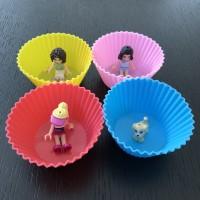 cetakan bento partisi bekal cup silikon food cup set isi 4