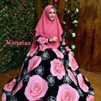Jual x93, Syari new mawar black Bahan wolfis ld 105 pjg 142 lebar rok 4mter Murah