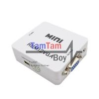Converter Adapter Box HDMI Female To VGA Female + Audio RCA Female