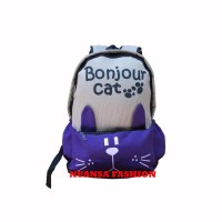 Jual MTF Tas Ransel Laptop Bonjour Cat Purple 688 Murah