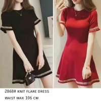 Jual Knit Flare Dress-minidress cantik-polos-dress simple-promo-BL Murah