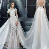 gaun pengantin bahan brokat wedding gown baju pengantin lengan panjang