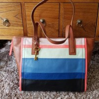 TAS FOSSIL EMMA SHOPPEE BRIGHT STRIPE