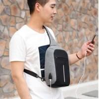 Tas Anti Maling pria wanita USB CHARGER - Sling bag bodypack IMPORT