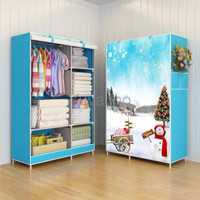 Jual PROMO 03 SnowMan Multifunction Wardrobe Cloth Rack with cover lemari Murah
