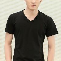 Jual V man black OT kaos T shirt pria cotton spandex hitam Murah