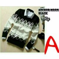 Jual Baju Pria sweter rajut Pria ANCHOR BLACK Premium Murah
