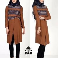 Jual set tunik tribal 3in1 DR baju muslim wanita coklat Terbaru Murah