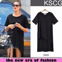 Jual d1030 blus simple black xl CR blouse wanita spandex hitam Termurah Murah