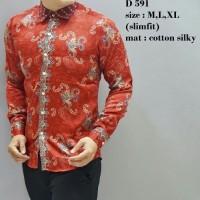 Jual kemeja Batik Pria Lengan Panjang Slimfit Murah