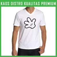 Jual Kaos Mickey Mouse Logo 3 V-neck VNK-TAB97 Murah