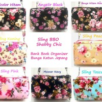 Jual Bank Book Organizer Motif Bunga Pink Muda TALI PANJANG BBO Shabby Chic Murah