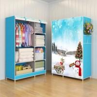 Jual TERBATAS 03 SnowMan Multifunction Wardrobe Cloth Rack with cover lema Murah