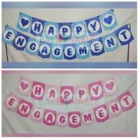 Banner / Bunting Flag Happy Engagement Tunangan