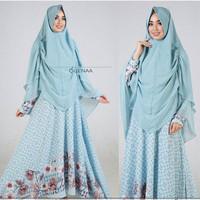 [Queena soft blue GZ] gamis wanita bubblepop biru muda