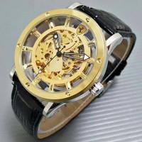 Jual Jam Tangan Pria Ferrari Skeleton Emblem Leather Black Kombinasi Gold Murah