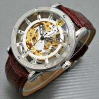 Jual Jam Tangan Pria Ferrari Skeleton Emblem Leather Brown Silver White Murah