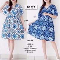 Jual SEDS522 dress kimono flare lucu biru casual midi busui import murah Murah