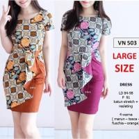 Jual SEVN503 dress batik modern etnik sepan flare lace midi kantor murah gr Murah
