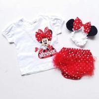 Jual Baju Setelan Anak Bayi Perempuan Minnie Mouse Bag Celan Murah Murah