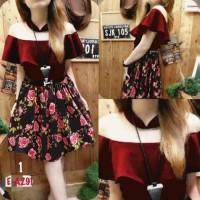 Jual dress gaun baju natal christmas sabrina minidress merah midi flare Murah