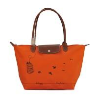 Authentic Longchamp Le Pliage Large Tote Bag Sangkar - Orange
