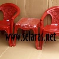 harga 2 Kursi Teras Plastik 552 Dan 1 Meja 4343 Set Napolly Merah Tokopedia.com