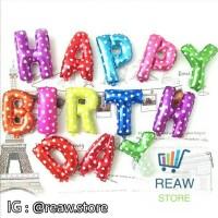 Jual (Murah) Balon Foil Huruf Set Happy Birthday (Mix Warna) Murah