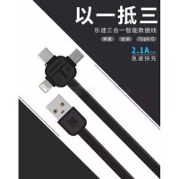 Jual Remax Lesu 3 in 1 Lightning Micro USB & USB Type C Charging Cable 1m - Murah