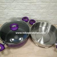 Jual murah Panci set Supra 5pcs + steamer (ungu) Murah