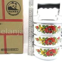 Jual Food Carrier 3 layer / rantang enamel 3 susun Panda Maspion 14cm Murah