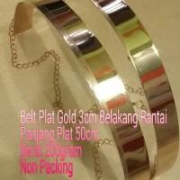 # Ikat Pinggang Wanita Plat Gold 3cm Belakang Rantai KLH 008 #