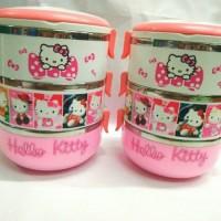 Jual Rantang 3 Susun Hello Kitty dasar putih stainlles/ Rantang 3 Susun Murah