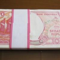 Jual Uang Kuno  1 Gepok 100 Pinisi 1992 AU-UNC No Urut  Murah