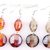 FREE 6Pairs Charms Helix Murano Glass Bead Silver P Earrings Xmas Whol