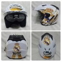 Helm Club Bola Real Madrid Putih Hala Madridista CR7 Double Visor SNI