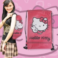 Jual Tas Serut Ransel Sekolah Hello Kitty Pink Bag Non Ori B Berkualitas Murah