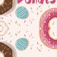 STIKER KULKAS 1 PINTU & STICKER 2 PINTU MOTIF KUE CAKE DONAT