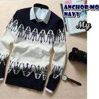 Jual Baju Pria sweter rajut Pria ANCHOR MOON NAVY Premium Murah
