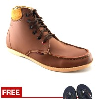 Jual  Sepatu Pria Boots Santai Kampus dan Kerja Redknot Bandit Tan T1910 Murah