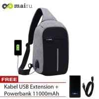 Tas Selempang Anti Maling USB Port XD Sling Bag Free Powerbank - Grey